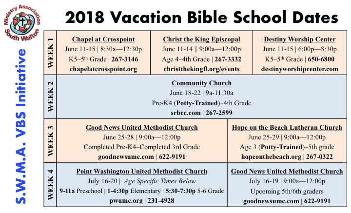 SoWal Ministers Association Announce Summer VBS Schedule