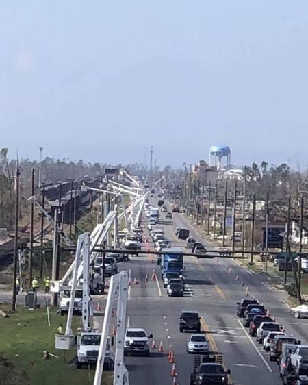 100's Of Lineman Restoring Power To Panama City