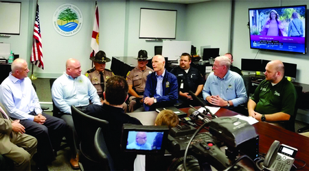 Goveror Rick Scott With Sheriff Michael Adkinson And The Walton County Emergency Management