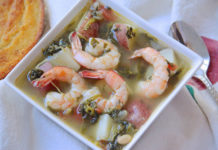 Shrimp, Red Potato And Turnip Green Soup