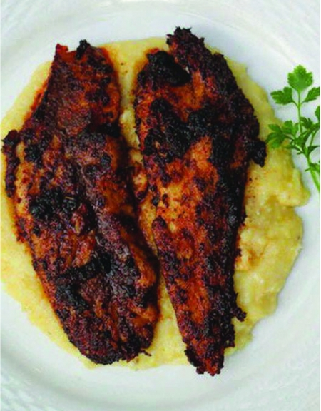 Redfish And Smoked Gouda Grits Recipe Photo From Destin Fishing Rodeo Brochure 2
