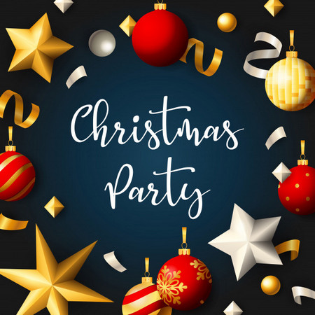 Christmas Party Banner With Balls Ribbons Blue Background 74855 1278