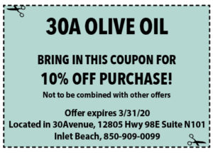 Sowal March 2020 Coupons 30a Olive Oil