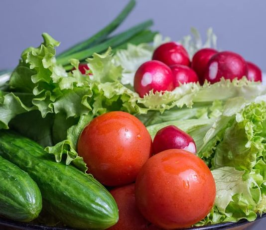 Salad Fresh Vegetables Tomatoes Green Food Healthy Vegetarian Diet