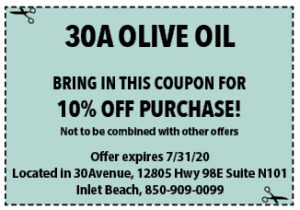 Sowal July 2020 Coupons 30a Olive Oil