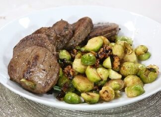 Beef Medallions With Roasted Brussels Sprouts And Soy Glazed Wal