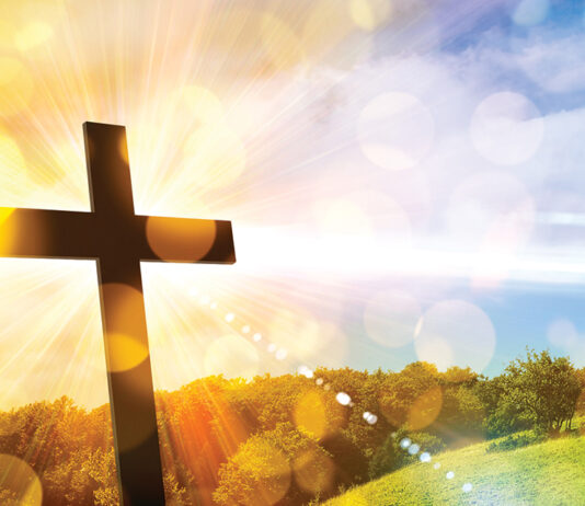 Religious Representation With Cross And Nature Landscape Background