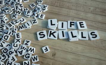 Life Skills Written In Letter Tiles Wood