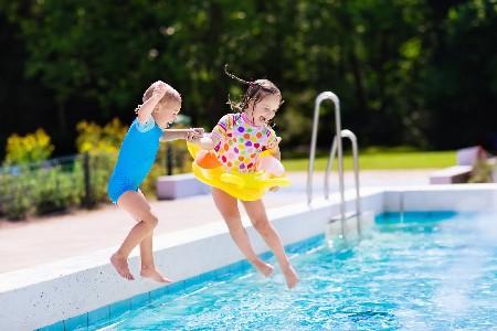 Eccac Girls Jumping In Pool